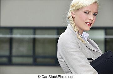 andare, donna d'affari, lavoro, giovane