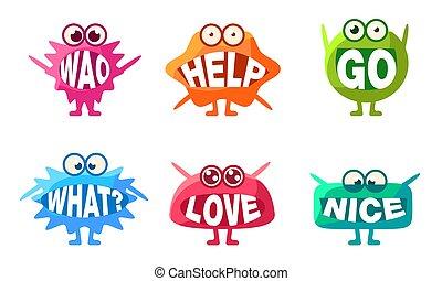 andare, emojis, caratteri, colorito, wao, set, amore, aiuto, bocche, illustrazione, loro, vettore, carino, parole, cosa, mostri, bello
