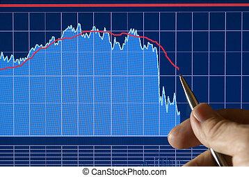 andare, finanziario, mercati, giù