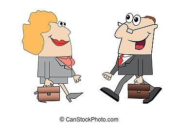andare, lavoro, uomini, donne