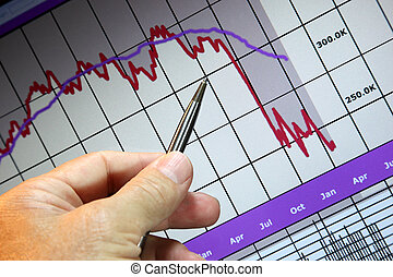 andare, mercati, finanziario, giù, grafico
