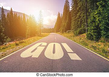 andare, montagne, parola, strada, autostrada