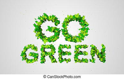 andare, particelle, foglia, verde, 3d
