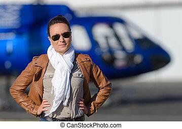andare, pronto, donna, carino, pilota