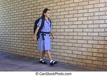 andare, scolara, uno, lei stessa, scuola