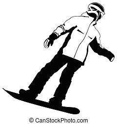 andare, silhouette, snowboarder, nero-e-bianco, -, giù, vettore, collina