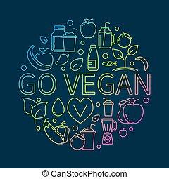 andare, vegan, colorito, illustrazione