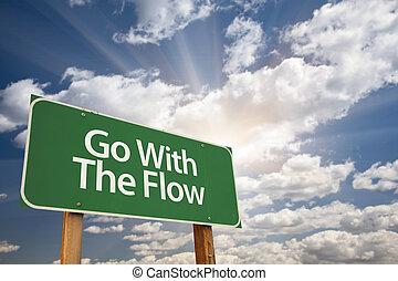 andare, verde, flusso, segno strada