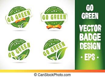 andare, verde, vettore, distintivo, logotipo