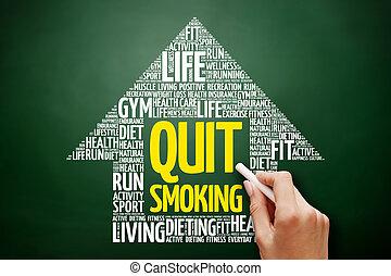 andarsene, fumo, freccia, parola, nuvola, collage