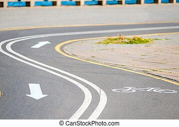 ande bicicleta caminho, parque, com, a, direção, de, movimento, notação