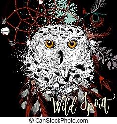 ande, mode, vild, illustration, boho, dreamcatcher, owl.