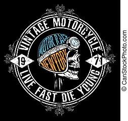 ande motocicleta correr, tipografia, gráficos, e, poster., cranio, e, antigas, escola, bike., t-shirt, design;, vetorial, ilustração