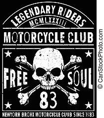 ande motocicleta correr, tipografia, gráficos, e, poster., cranio, e, antigas, escola, bike., t-shirt, desenho, vetorial, ilustração