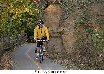 ande uma bicicleta, ligado, panorâmico, rastro