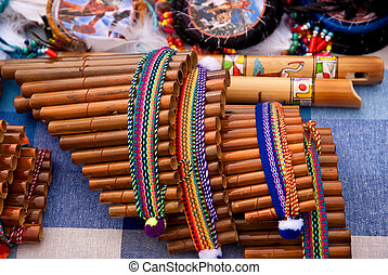 Andean flutes on a stand