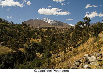 andean landscape - view of the cordillera blanca in Peru ...