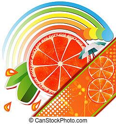 andelar, apelsin, med, bladen