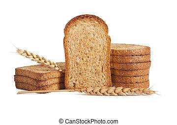 andelar, isolerat, bakgrund, vit, rostat, bread