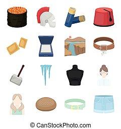 andere, kurze hosen, karikatur, ikone, web, satz, sommer, collection., freizeit, zubehörteil, tourismus, style., geschäfts-ikon