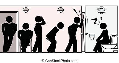 andere, verstopfung, pipi, schwierigkeiten, toilette, besitz