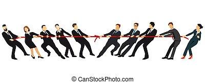 anderen, koord, teams, .eps, het trekken, tegenoverstaand, tegen, elke, einden, war., sleepboot