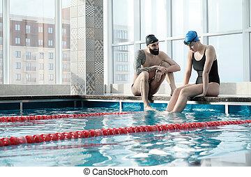 anderen, steunen, zwemmer