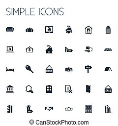 anderen, vector, slot, eigendom, glas, reclame, toren, icons., synonyms, communie, set, comfort, monitor, broker., eenvoudig, illustratie
