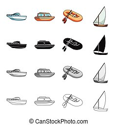 anderen, water, duikboot, pictogram, spotprent, web, set, collection., vrije tijd, steamboat, style., vervoeren, iconen, lancering