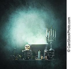 anders, achtergrond, hekserij, boek, halloween, kaarsjes,...