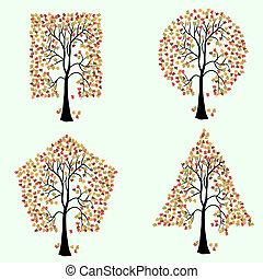anders, bomen, shapes., geometrisch
