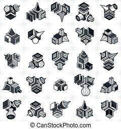 anders, bouw, abstract, verzameling, techniek, vectors, set.