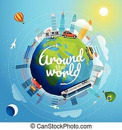 anders, concept, ongeveer, reizen, illustratie, reis, vector, vehicle., wereld, logo