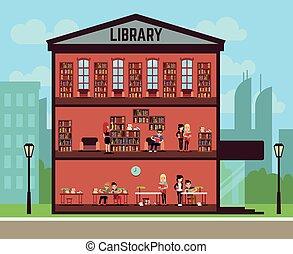 anders, concept, scholieren, bibliotheek, boekjes , lezende , publiek