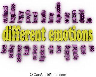 anders, concept, woord, beeld, emoties, achtergrond, wolk, 3d
