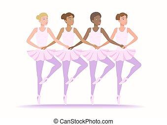 anders, dans, meiden, wedloop, samen., ethnische