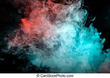 anders, dicht, verlicht, tegen, golven, voltooien, sigaret, achtergrond., kleuren, rook, opstand, exhaled, black , witte , verstrooien, broodjes, wolk