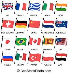 anders, eps10, eenvoudig, land, verzameling, kleur, vlaggen, gebogen