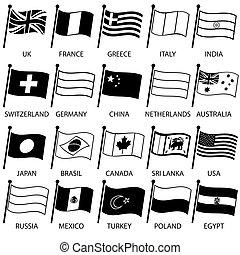 anders, eps10, eenvoudig, land, verzameling, vlaggen, gebogen