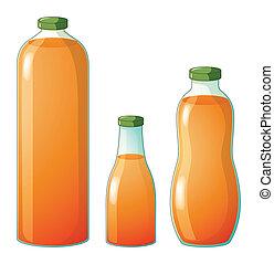 anders, flessen, groottes, drie, sap, sinaasappel