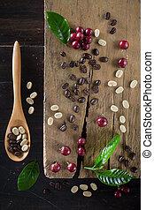 anders, fris, houten, blad, bovenzijde, koffie, rustiek,...