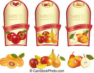 anders, fruit, drie, etiketten