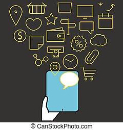 anders, gadgets., iconen, moderne, stroom, vector, illustratie, techno, lineart