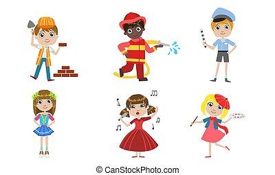 anders, geitjes, brandweerman, zinger, set, beroepen, kunstenaar, illustratie, controleur, vector, verkeer, aannemer