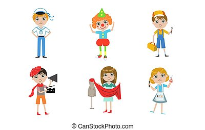 anders, geitjes, kapper, set, beroepen, installatiebedrijf, illustratie, directeur, clown, vector, kleermaker, zeeman
