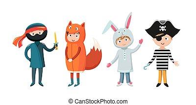 anders, geitjes, kostuums, illustratie, vrijstaand, vector