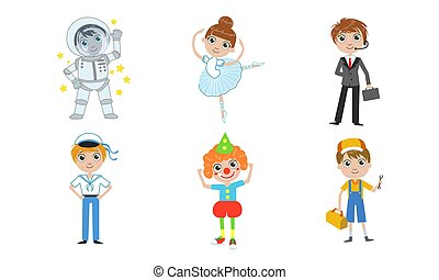 anders, geitjes, set, beroepen, clown, installatiebedrijf, illustratie, ruimtevaarder, vector, zakenman, zeeman, ballerina