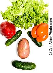 anders, gemaakt, uit, groentes, gezicht