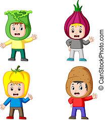 anders, groentes, variant, verzameling, kostuum, fris, gebruik, kinderen