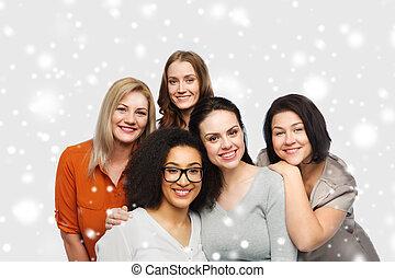 anders, groep, kleren, vrolijke , ongedwongen, vrouwen